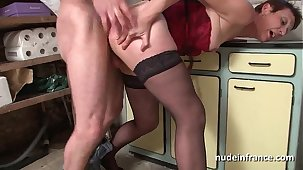 Amateurish french mature with respect to lingerie fucked firm and facial by the gardener