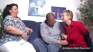 Thick thighed BBW joins in with grown up couple