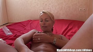 Blonde Mature Hottie Plays With Dildo Added to Toys