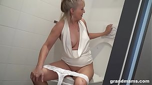 Pretty good granny puts toilet brush up young boys asshole