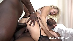 Granny whore Marina Beaulieu fucked much the same as a gripe by 2 Black cocks