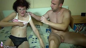 Young Girl and superannuated Granny antic in bathroom