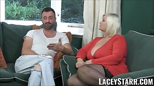 LACEYSTARR - Leather bite on the bullet granny gets interracial spitroast