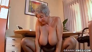 Busty Granny Seduces Young Tramp With Say no to Big Soul