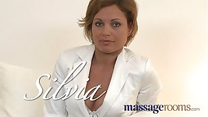 Massage Rooms Hot MILF enjoys big affluent fingers deep in her juicy wet pussy