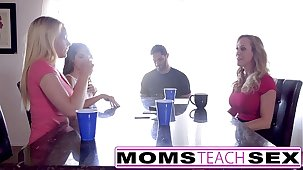 MomsTeachSex - Hot Mom & Teen Visitors Orgy Fuck With Neighbor