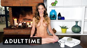 ADULT TIME Oiled Up Naked Yoga adjacent to MILF Cherie Deville