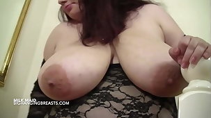 BBW housemaid with broad in the beam heavy milking tits