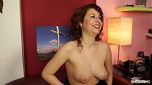 Fakeshooting - Teen girl  with big tits gets her pussy wet in carve audition