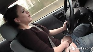 Sexy Lou driving and rubbing her sopping pussy