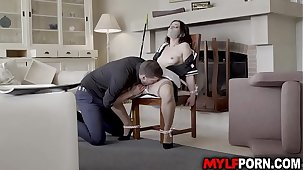 Classy MILF Valentina Bianco looks awesome in her French maid outfit increased by her boss tied her up before licking her sweet cunt then started a hot sex.