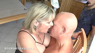 Tied up and watching a stranger fuck his big tits wife