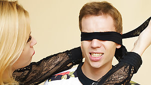 Old lady teaches blindfolded stepson anal fetish