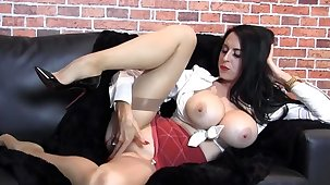 Milf with huge tits teases, nylons, feet, output lingerie, high heels