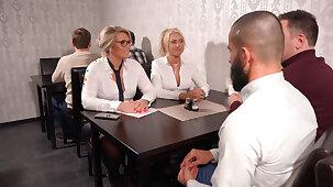 get under one's milf office sluts fucked in all holes in get under one's restaurant!