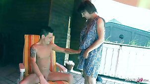 Crazy Stepson Seduces German Mother to Fuck on Balcony