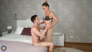 Taboo sex with Victorian mature wife and boy
