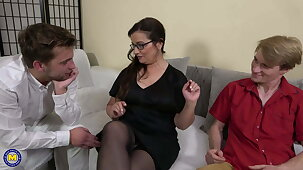 Mature teacher with the addition of two stupid hung boys